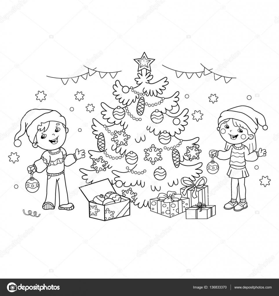 coloring page outline of children decorate the christmas tree with ornaments and gifts christmas