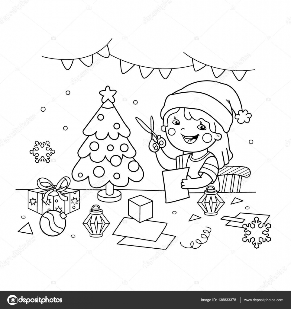 Coloring Page Outline cartoon girl making Christmas paper
