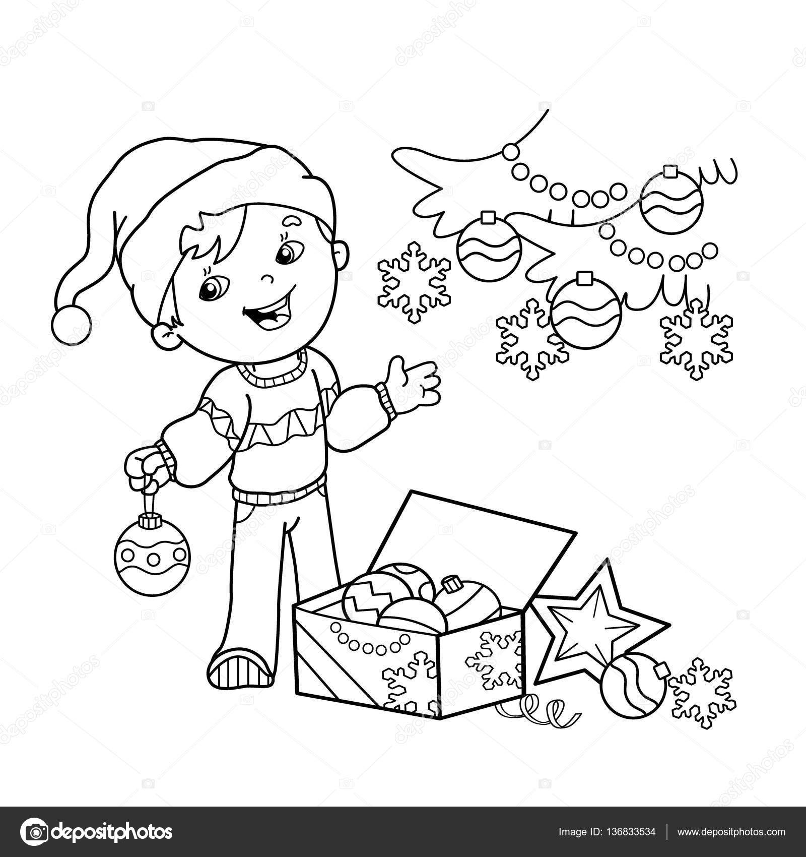 Coloring Page Outline Of Cartoon Boy Decorating The Christmas Tree With Ornaments And Gifts