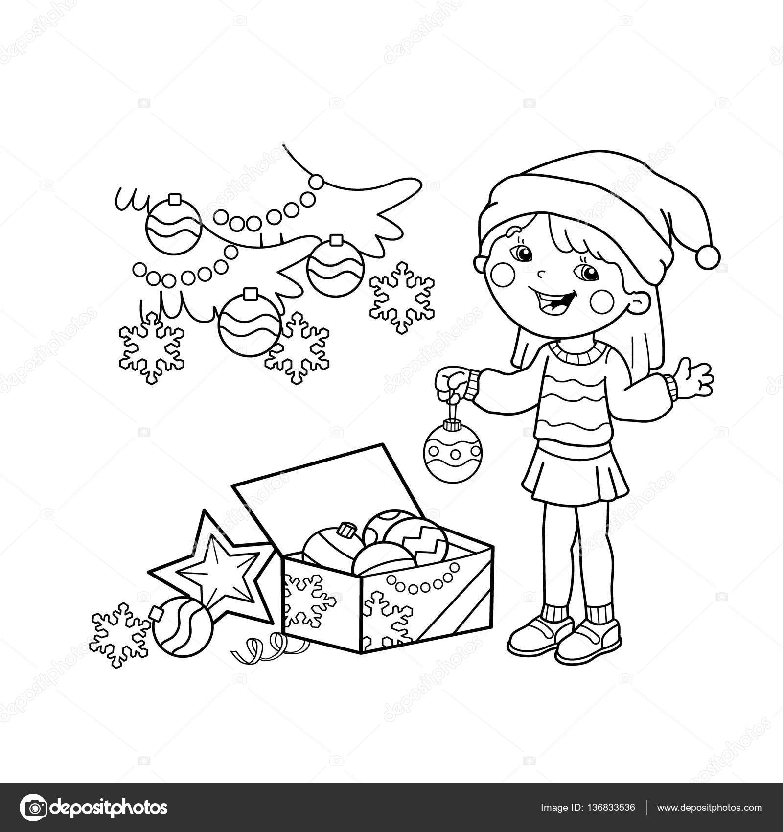 Coloring Page Outline Of Cartoon Girl Decorating The Christmas Tree With Ornaments And Gifts