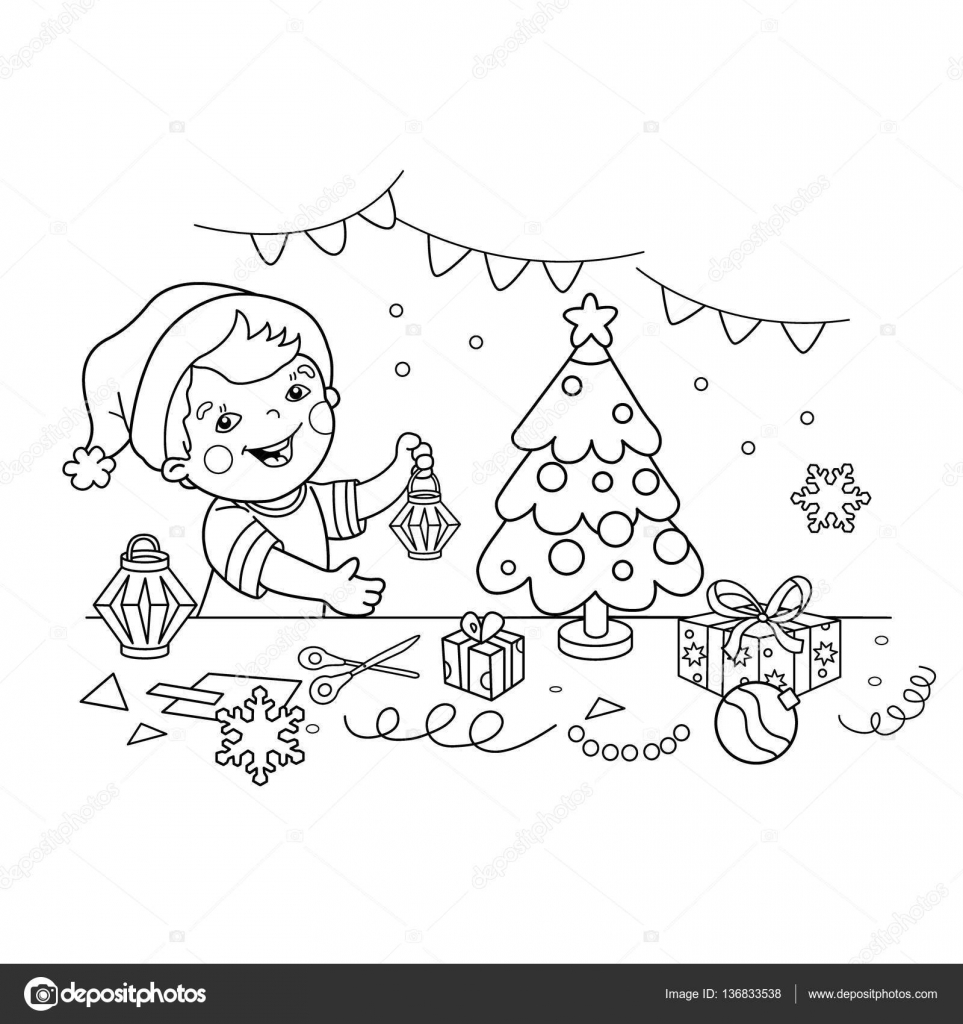 Coloring Page Outline Of cartoon boy making Christmas paper lanterns ...