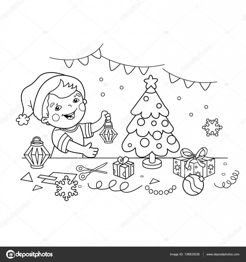 Kleurplaten Nieuwjaar En Kerstmis.Kleurplaat Pagina Overzicht Van Cartoon Jongen Kerst
