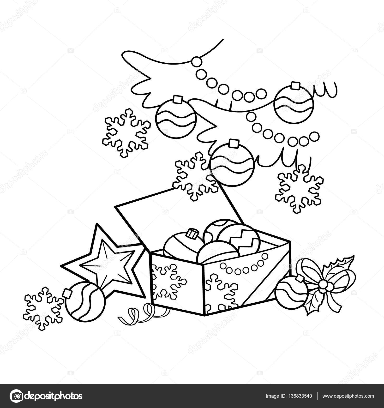Kleurplaat Pagina Overzicht Van Cartoon Kerstdecoratie Kerstmis