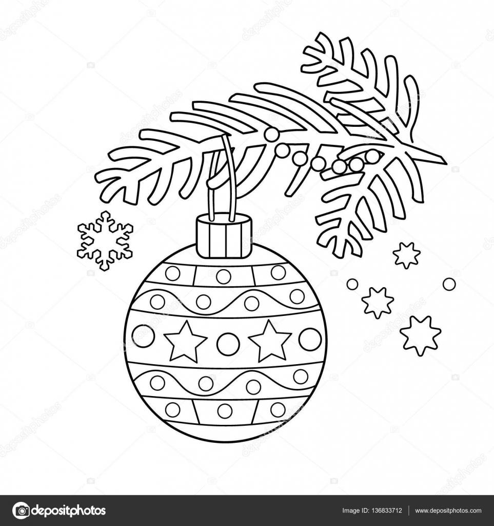 Boyama Sayfa Anahat Noel Dekorasyonu Noel Ağacı Dalı Yeni Yıl