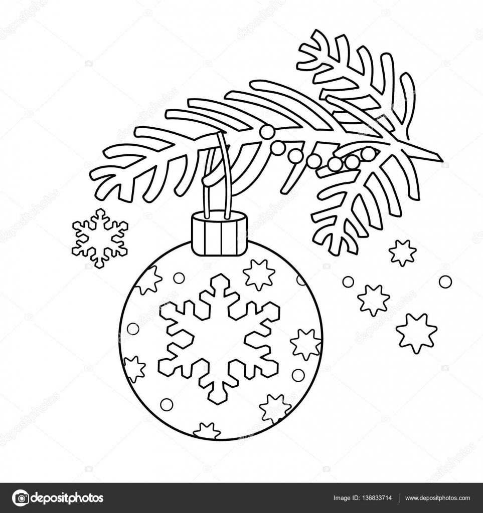 Coloring Page Outline Of Christmas Decoration Tree Branch New Year Book