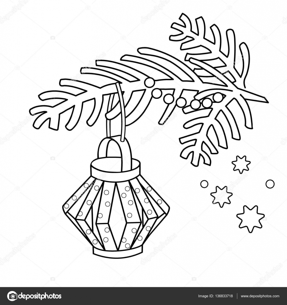 Coloring Page Outline Christmas decoration Paper flashlight