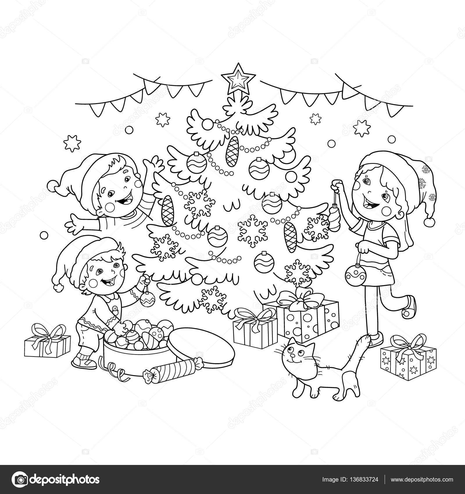 Para colorear esquema de página de los niños decoran el árbol de ...