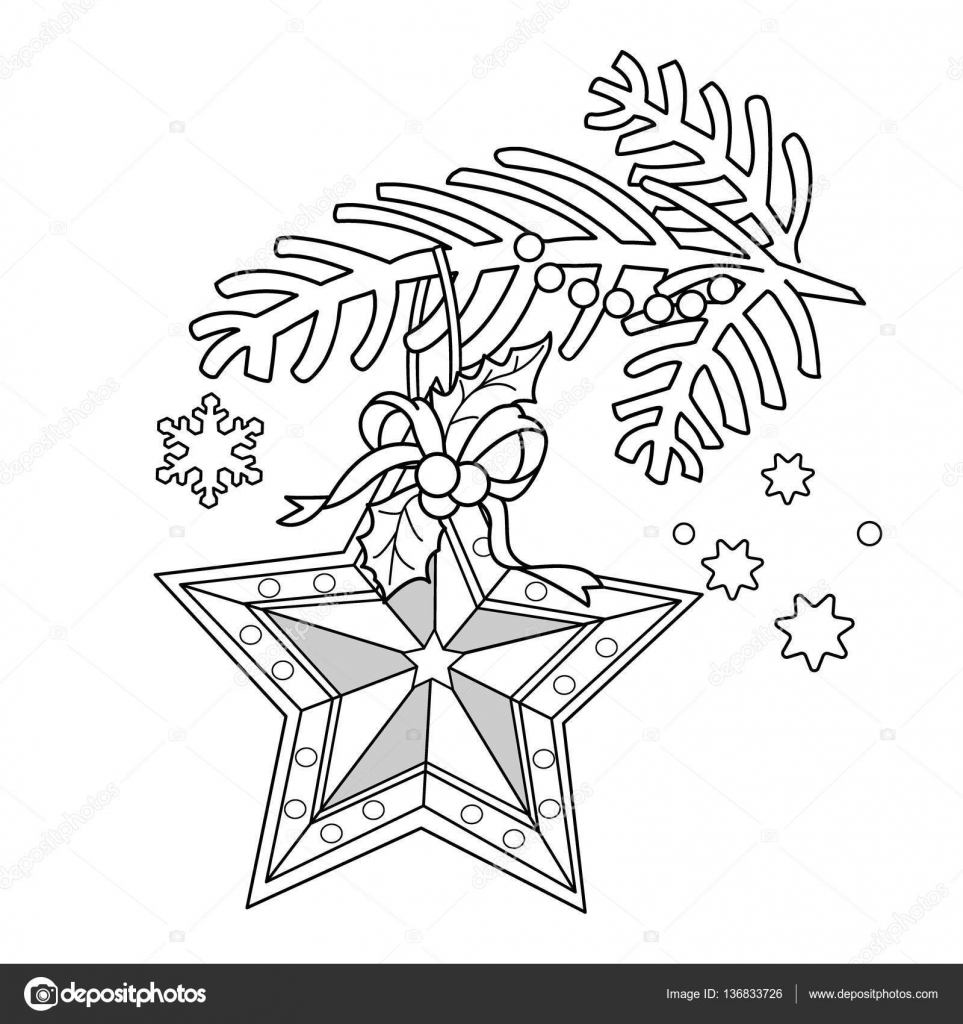 Coloring Page Outline Of Christmas Decoration Star Tree Branch New Year Book For Kids Vector By Oleon17