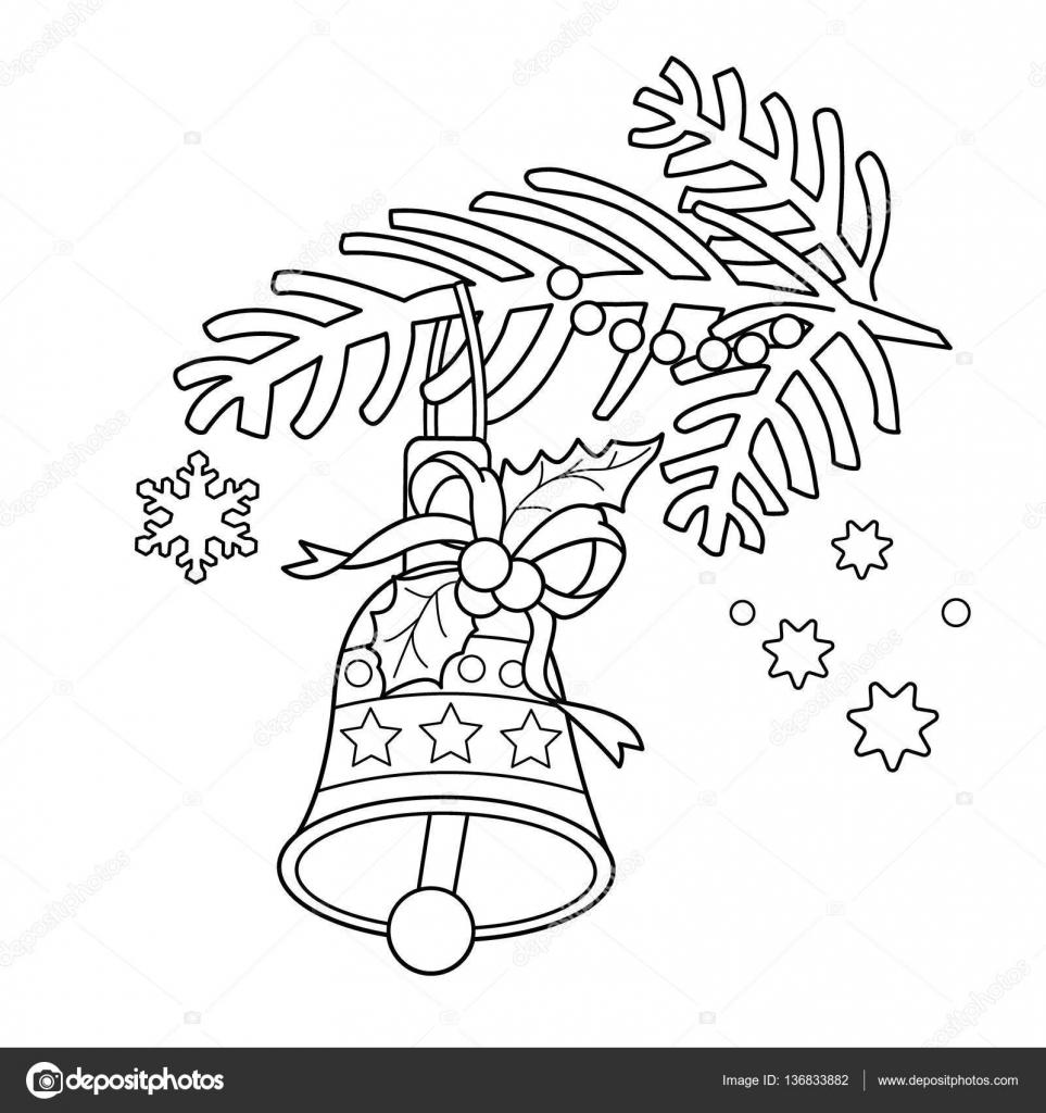 Boyama Sayfa Anahat Noel Bell Noel Ağacı Dalı Stok Vektör