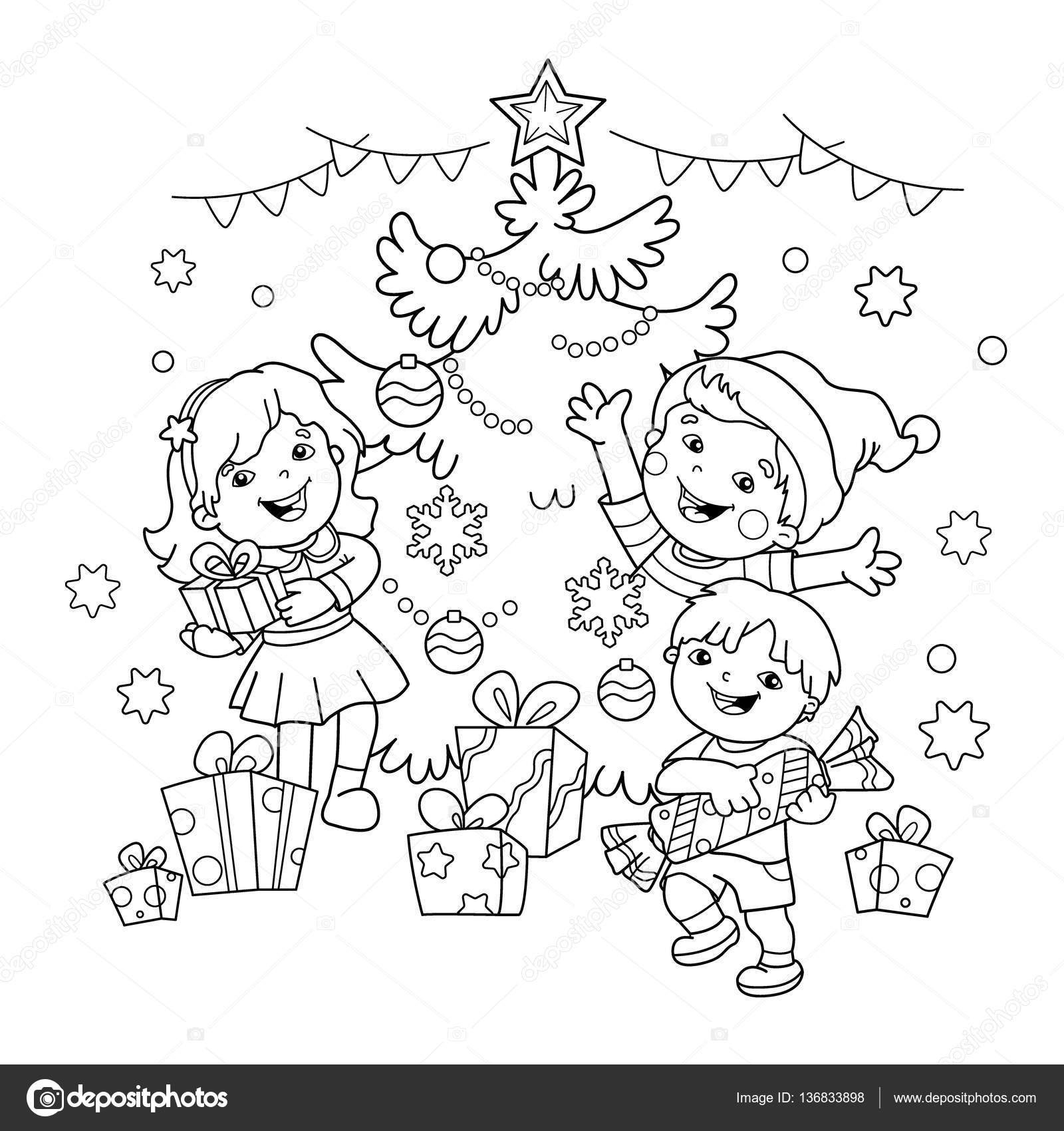 Para colorear esquema de página de los niños con los regalos en el ...
