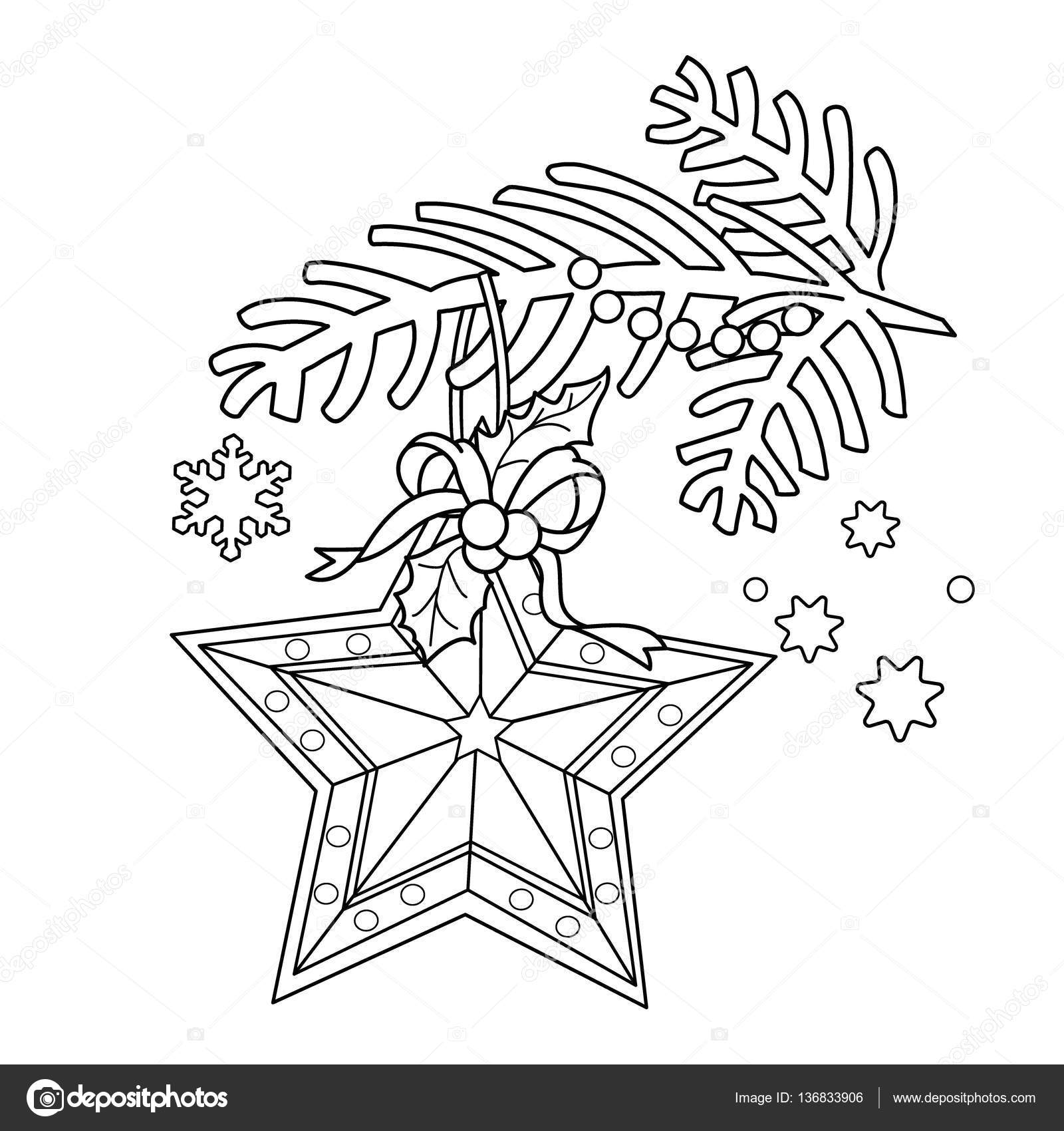 coloring page outline of christmas decoration star christmas