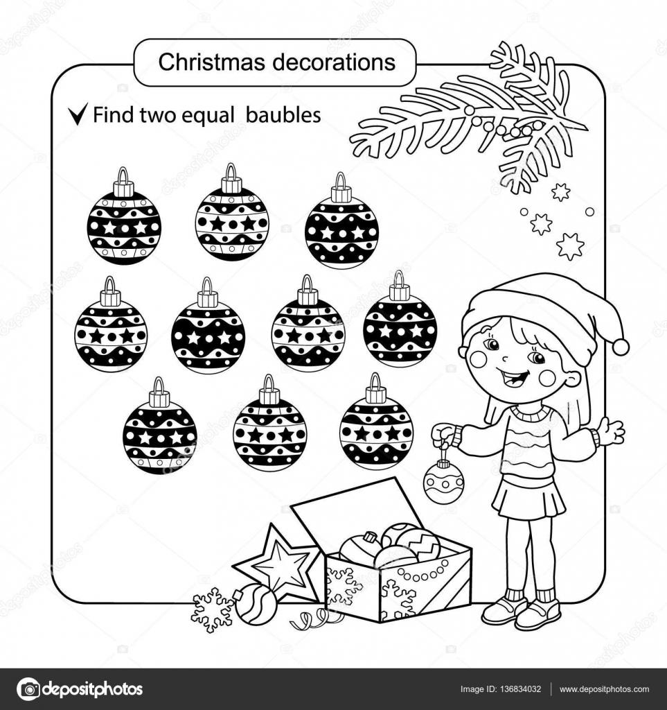 para nios juego de la mente del nio cosas variadas para encontrar al partido set de bolas de la navidad pgina para colorear para nios