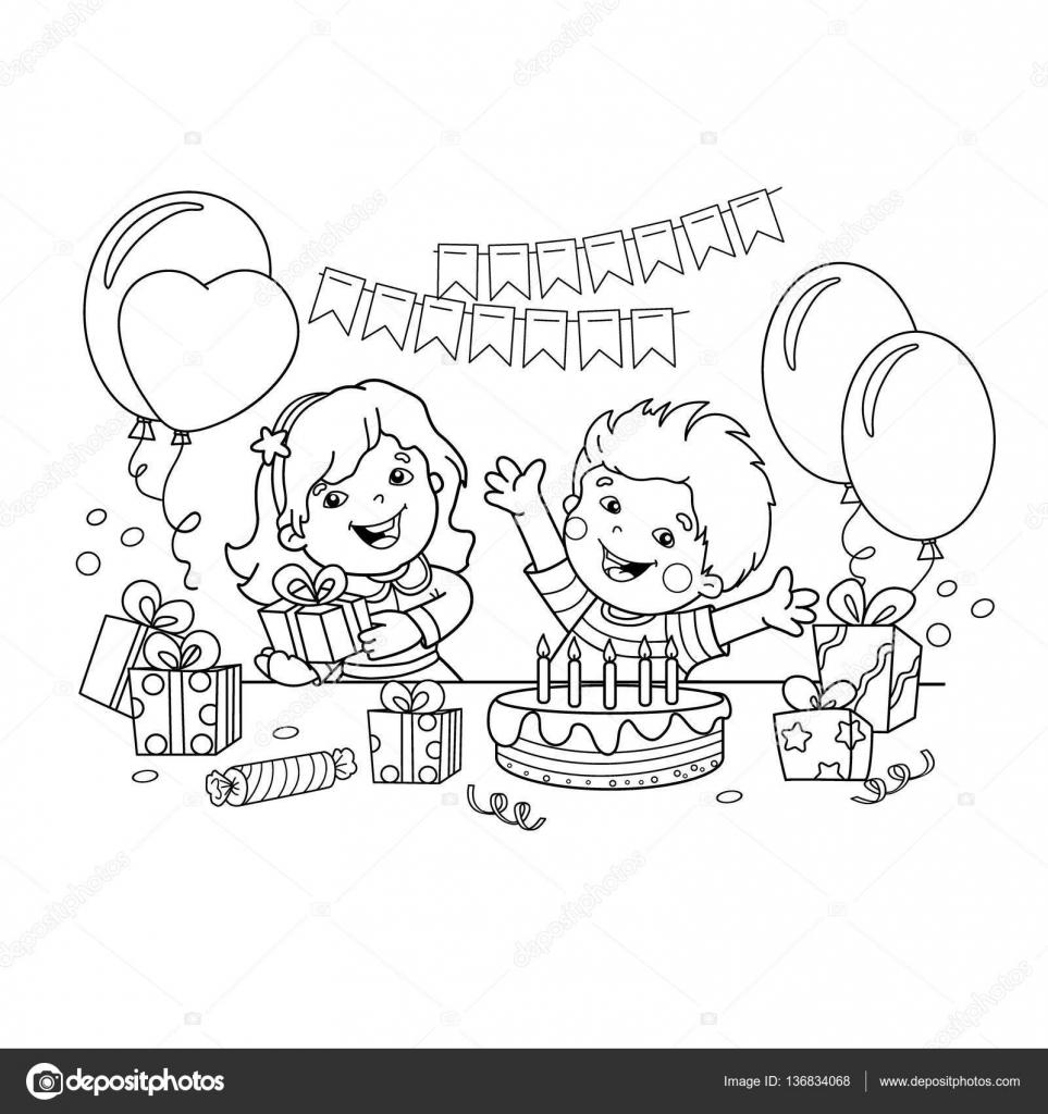 Esquema de página de los niños con regalos de colorear en el día de ...