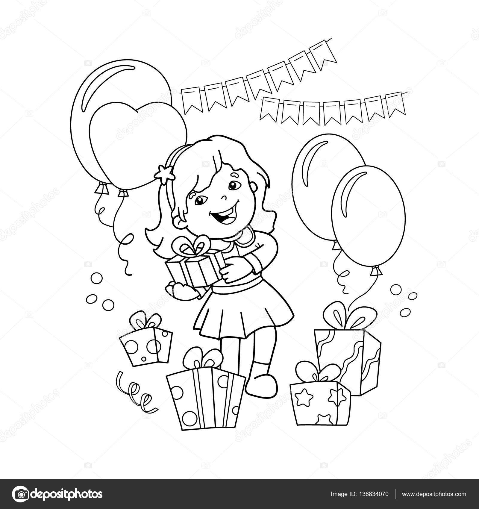 Colorear página esquema de chica de dibujos animados con un regalo ...