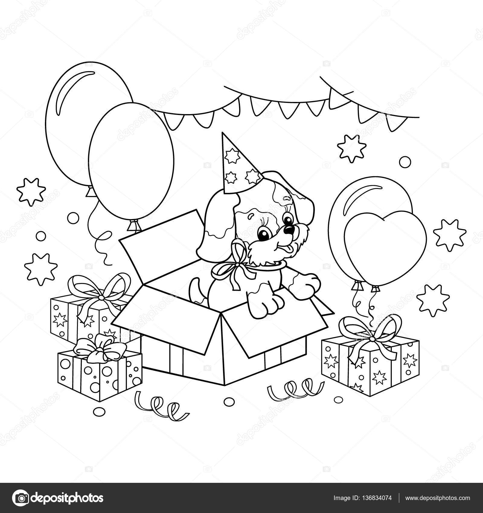 coloring page outline of cute puppy cartoon dog with bow gift