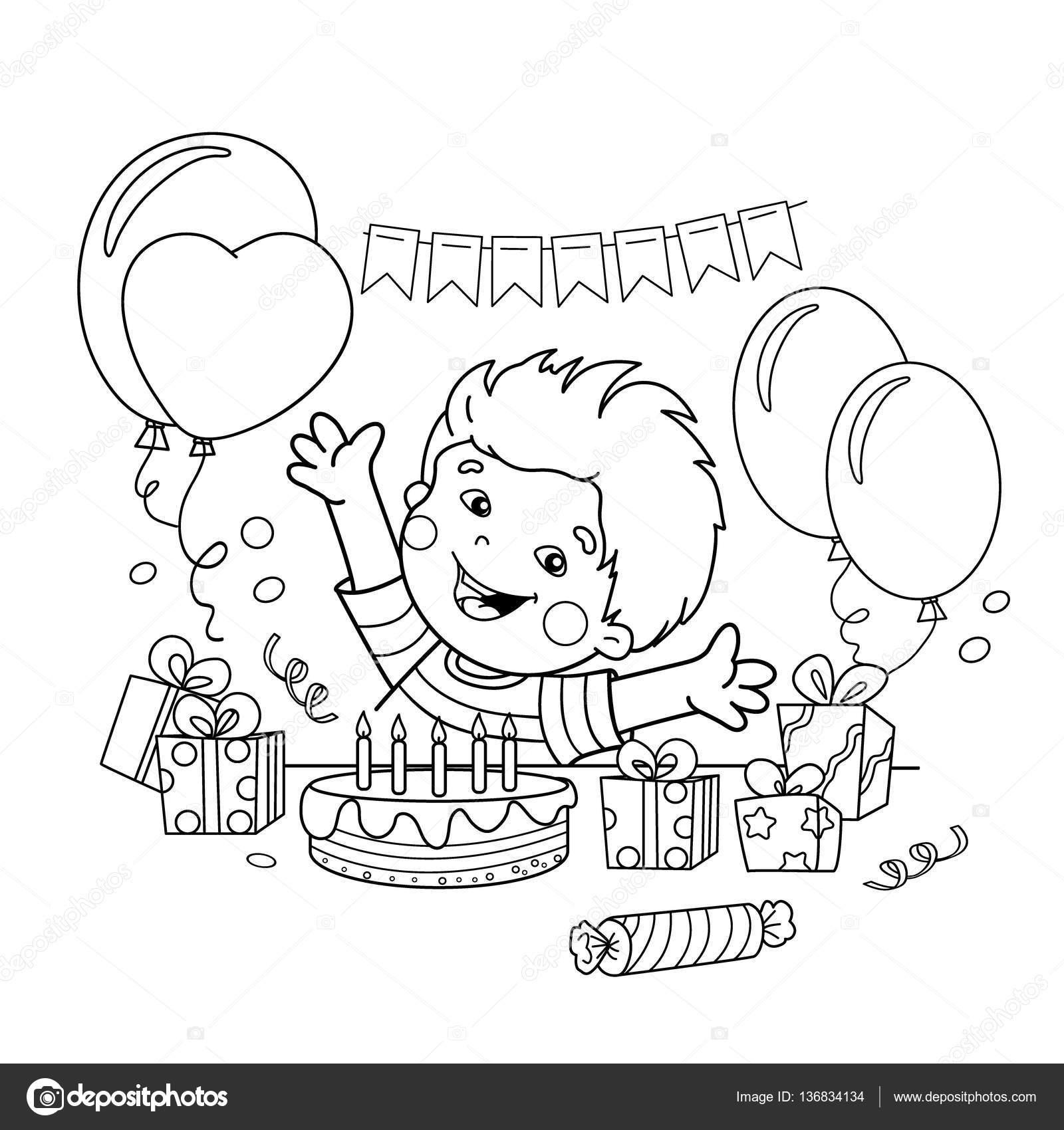 Para colorear página esquema de niño de dibujos animados con un ...