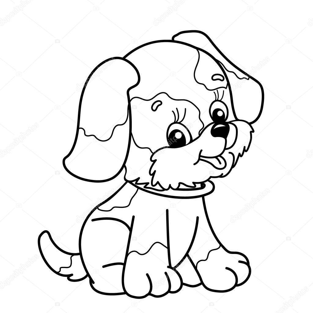 colorir p gina contorno do c o dos desenhos animados filhote de cachorro bonito sentado livro. Black Bedroom Furniture Sets. Home Design Ideas