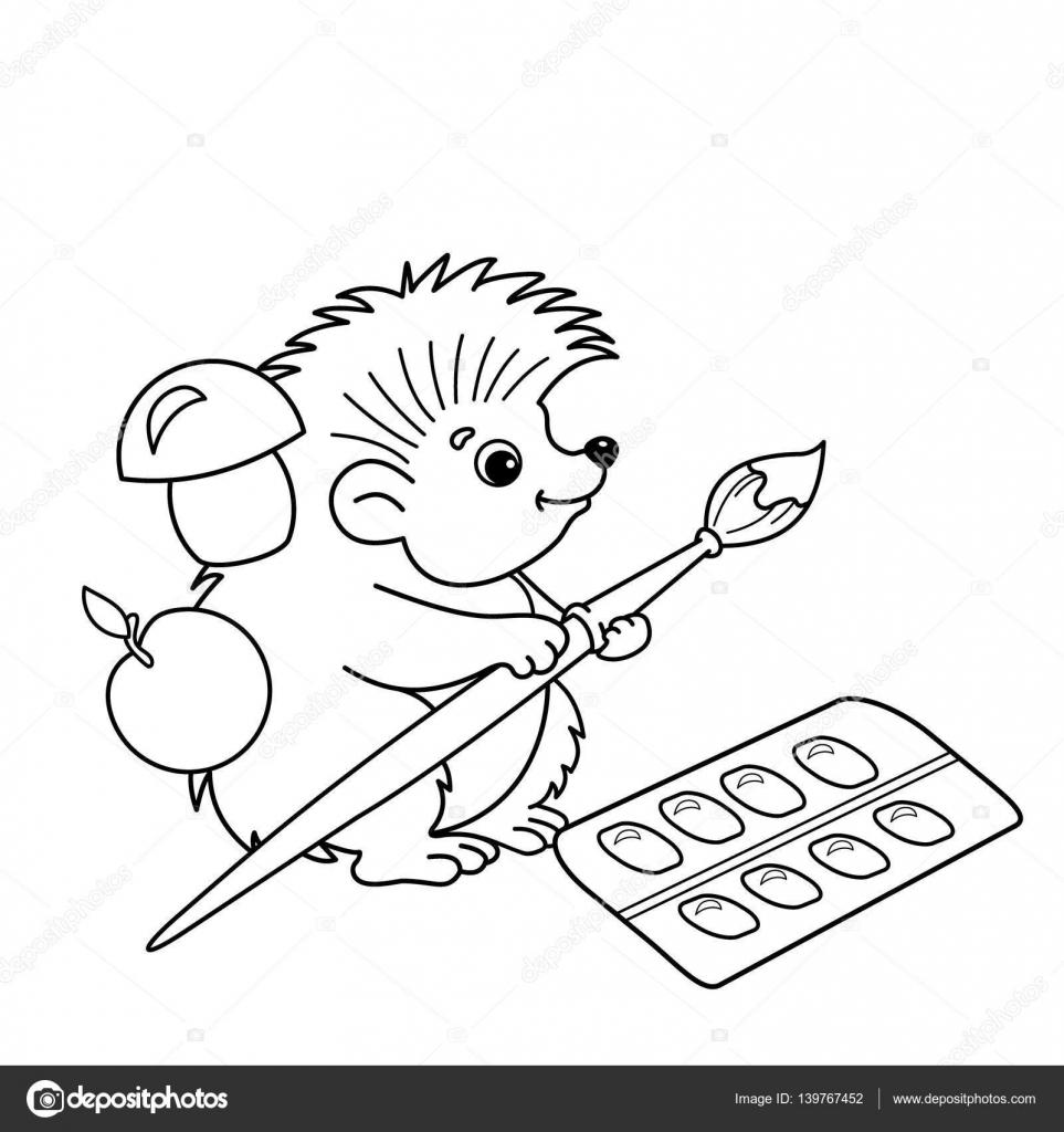 Gratis Kleurplaten Egel.Kleurplaat Pagina Overzicht Van Cartoon Egel Met Borstels En Verven