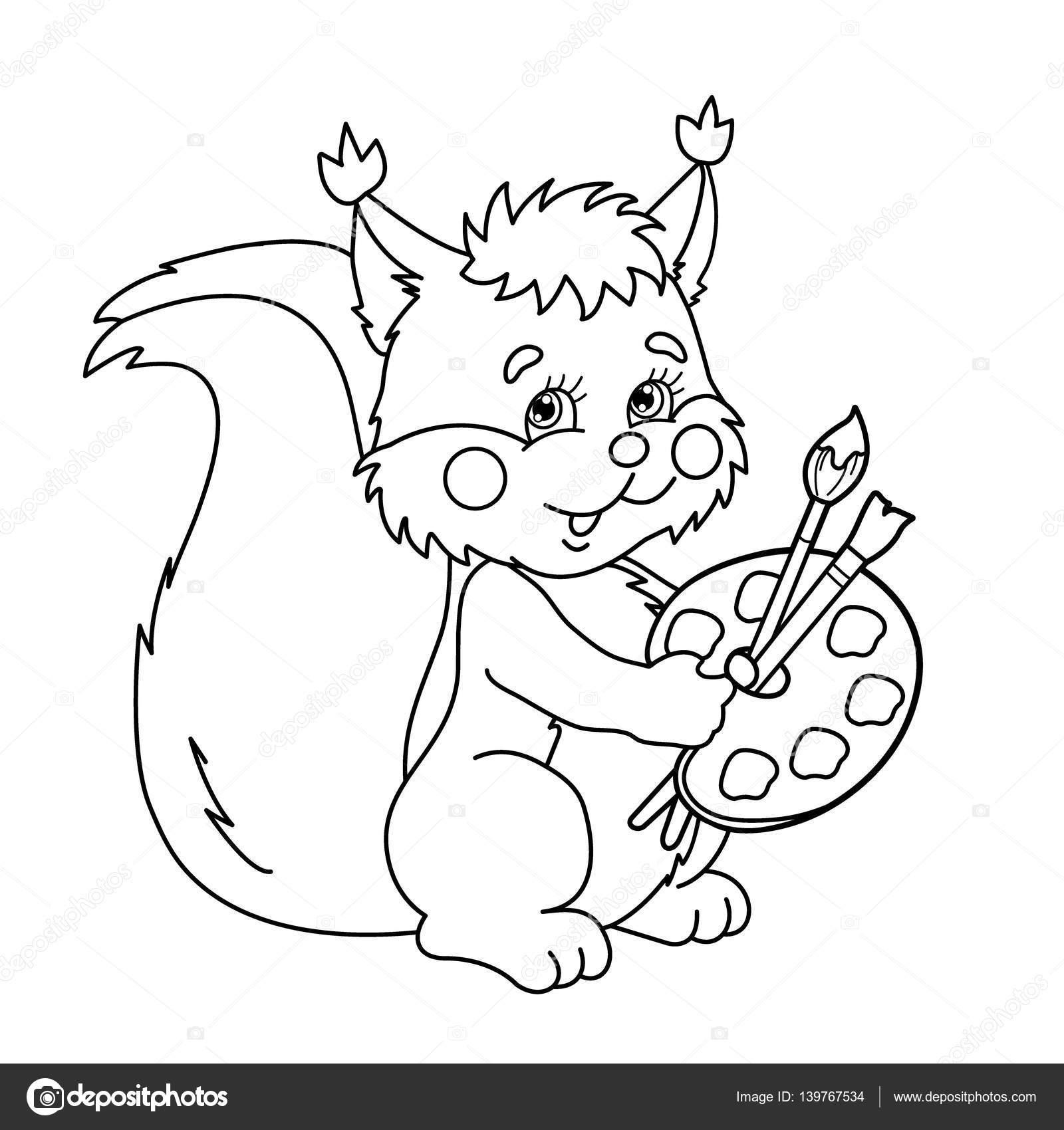 Boyama Sayfa Anahat Karikatür Sincap Fırçalar Ve Boya Ile çocuklar
