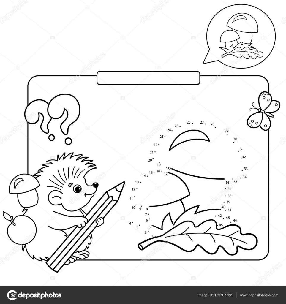 Educational games for kids: numbers game. Mushrooms. Coloring Page ...