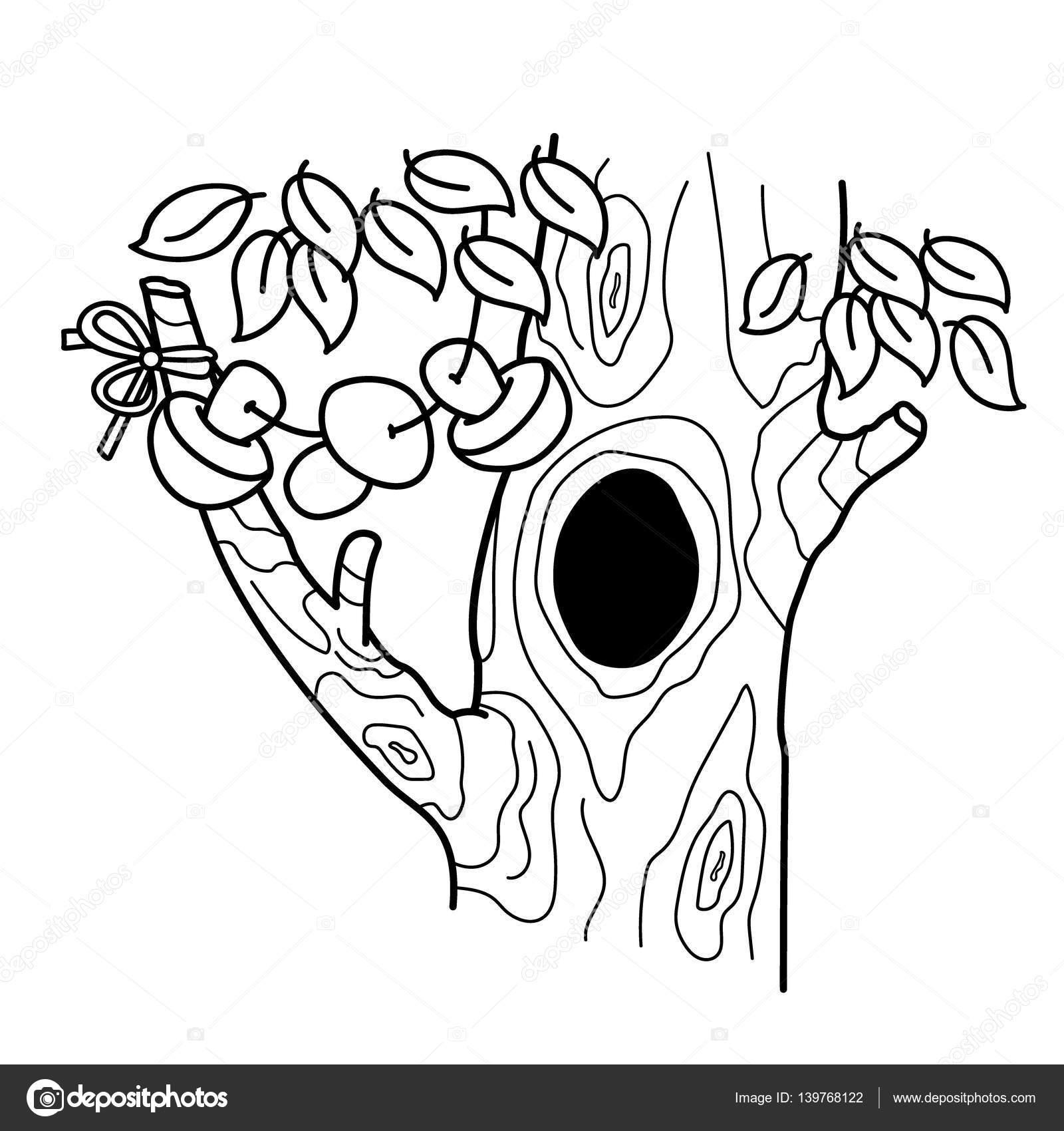 Sayfa Anahat Içi Boş Bir Ağacıyla çizgi Film Boyama Ev Veya Konut
