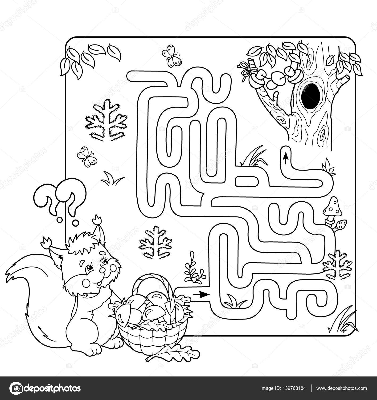 Cartoon Vector Illustration Of Education Maze Or Labyrinth Game For Preschool Children Puzzle Coloring