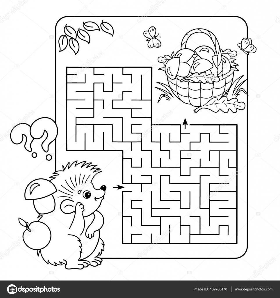 Cartoon Vectorillustratie Van Onderwijs Labyrint Of Labyrint Spel