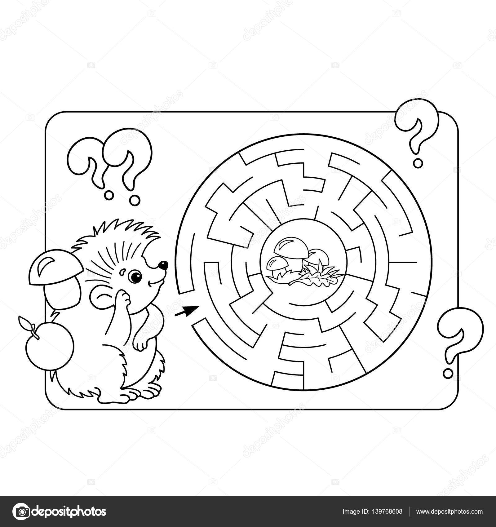 Okul öncesi çocuklar Için çizgi Film Vektör çizim Eğitim Labirent