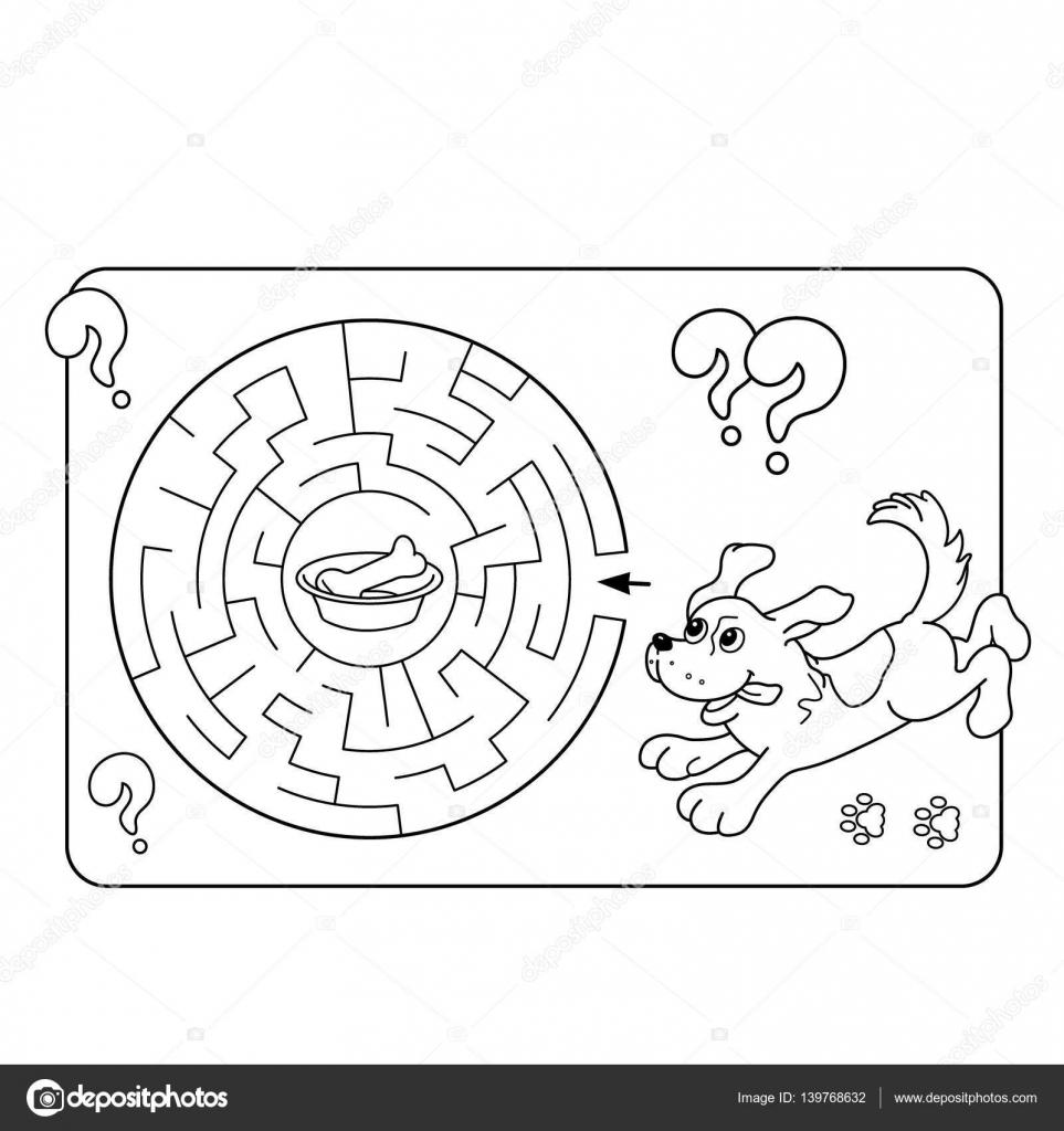 Cartoon ilustración de Vector de educación Maze o Labyrinth juego ...