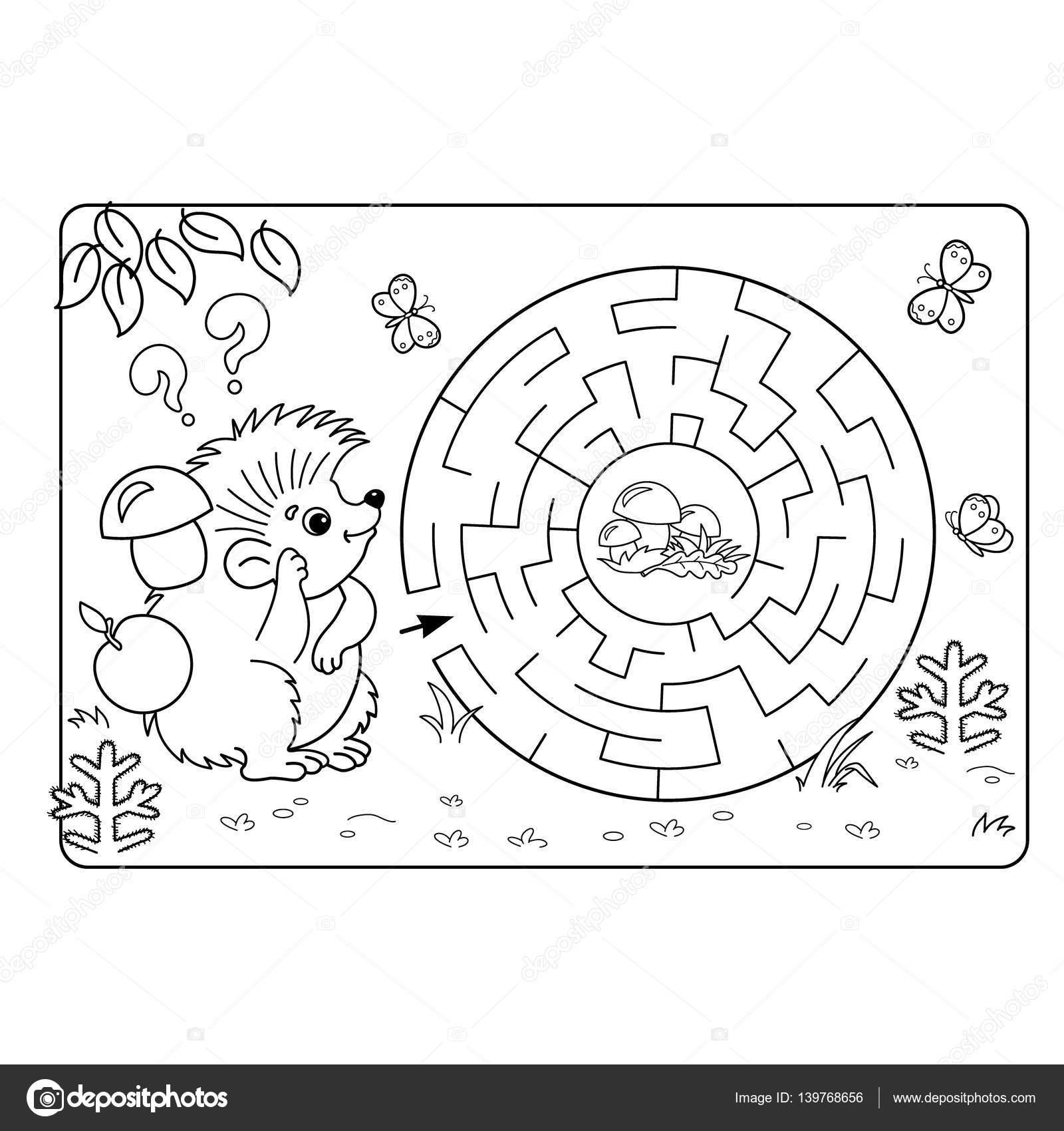 幼児の教育迷路や迷宮ゲームの漫画ベクトルの例パズルページ概要の