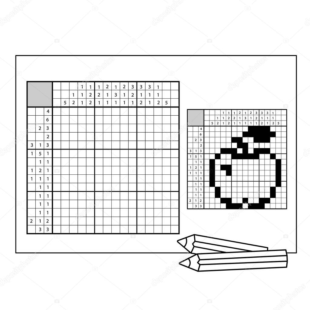 Apple. Black and white japanese crossword with answer. Nonogram with answer. Graphic crossword. Puzzle game for any age.
