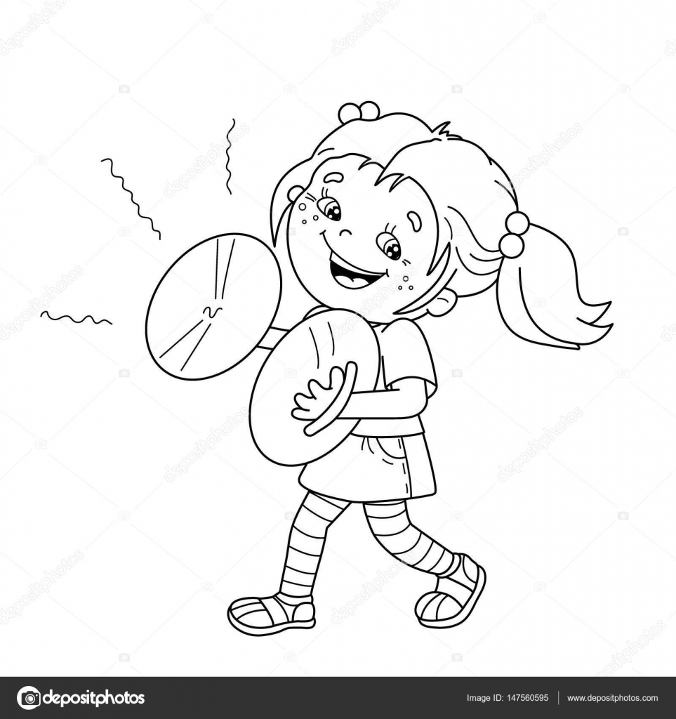 coloring page outline of cartoon playing the cymbals musical