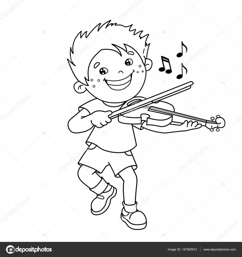 Coloring Page Outline Of Cartoon Boy Playing The Violin Musical Instruments Book For