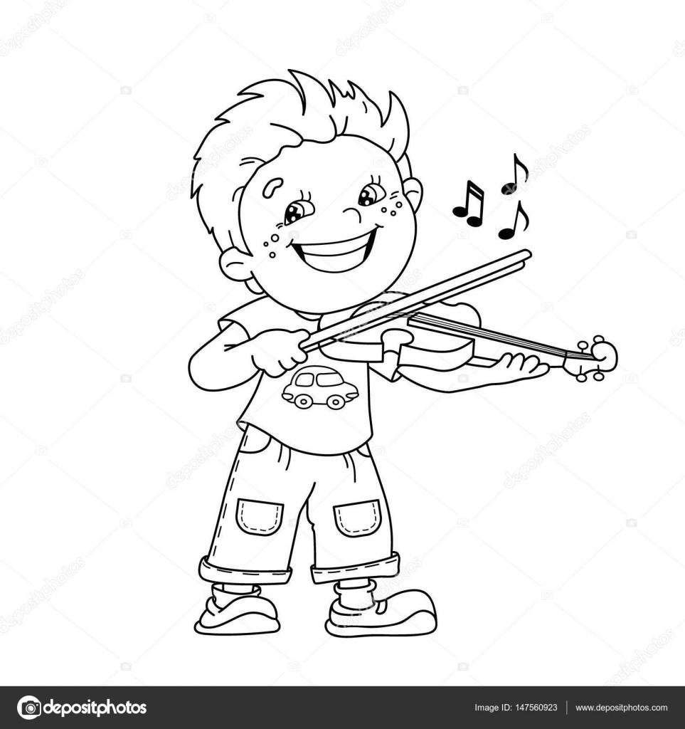 Colorear el contorno de la página de dibujos animados niño tocando ...