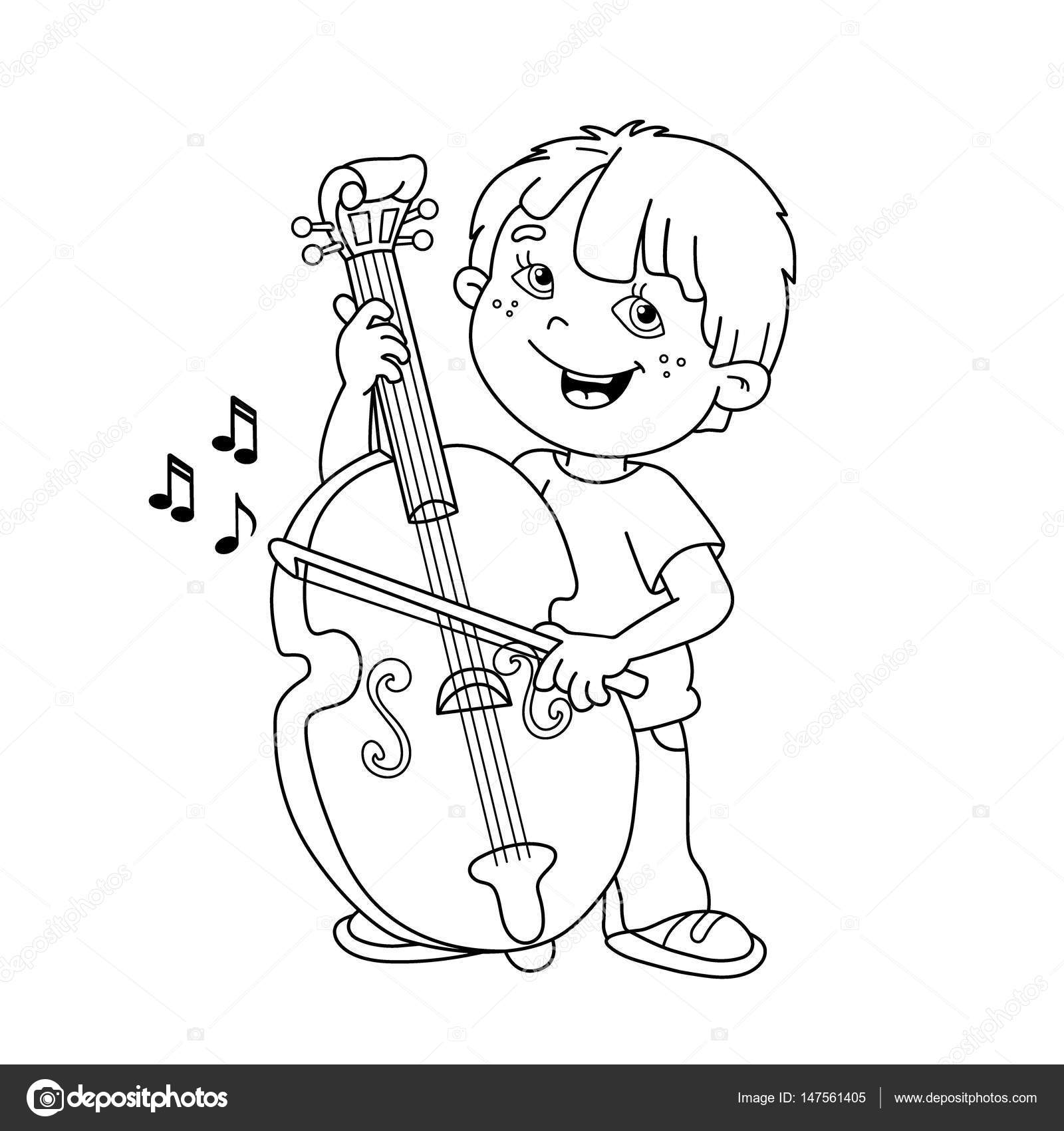 coloring page outline of cartoon boy playing the cello