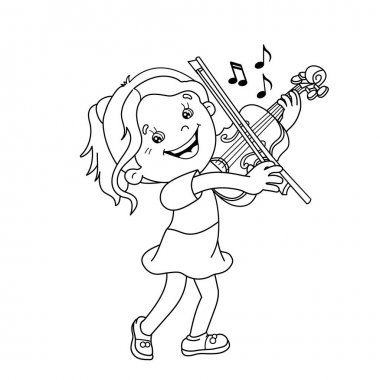 Coloring Page Outline Of cartoon girl playing the violin. Musical instruments. Coloring book for kids