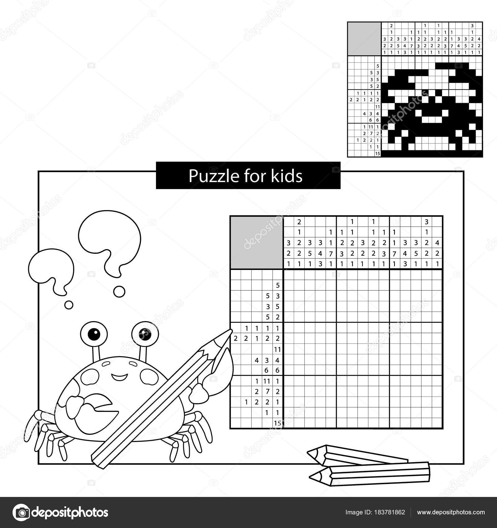 Educación juego de Puzzle para niños. Cangrejo. Blanco y negro ...