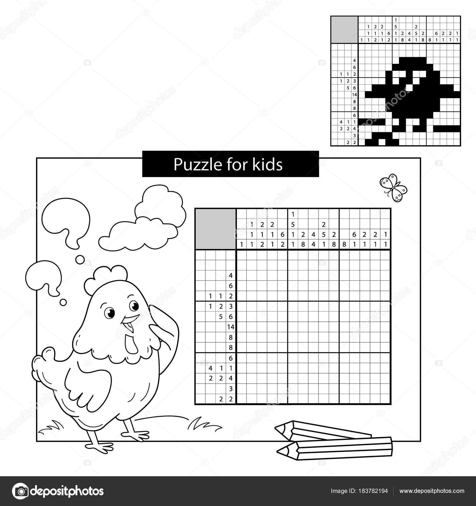 bildung-puzzle-spiel für schulkinder. küken mit wurm. schwarz / weiß