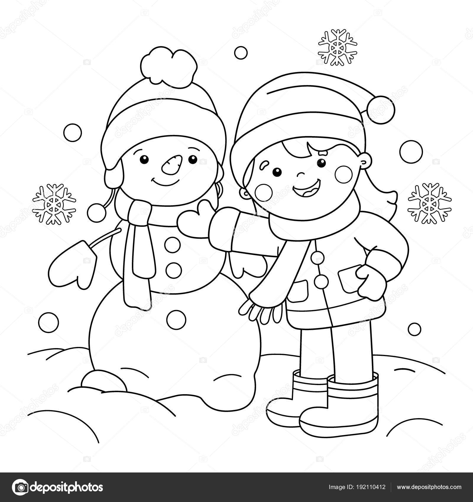 Coloring Page Outline Of cartoon girl making snowman. Winter ...