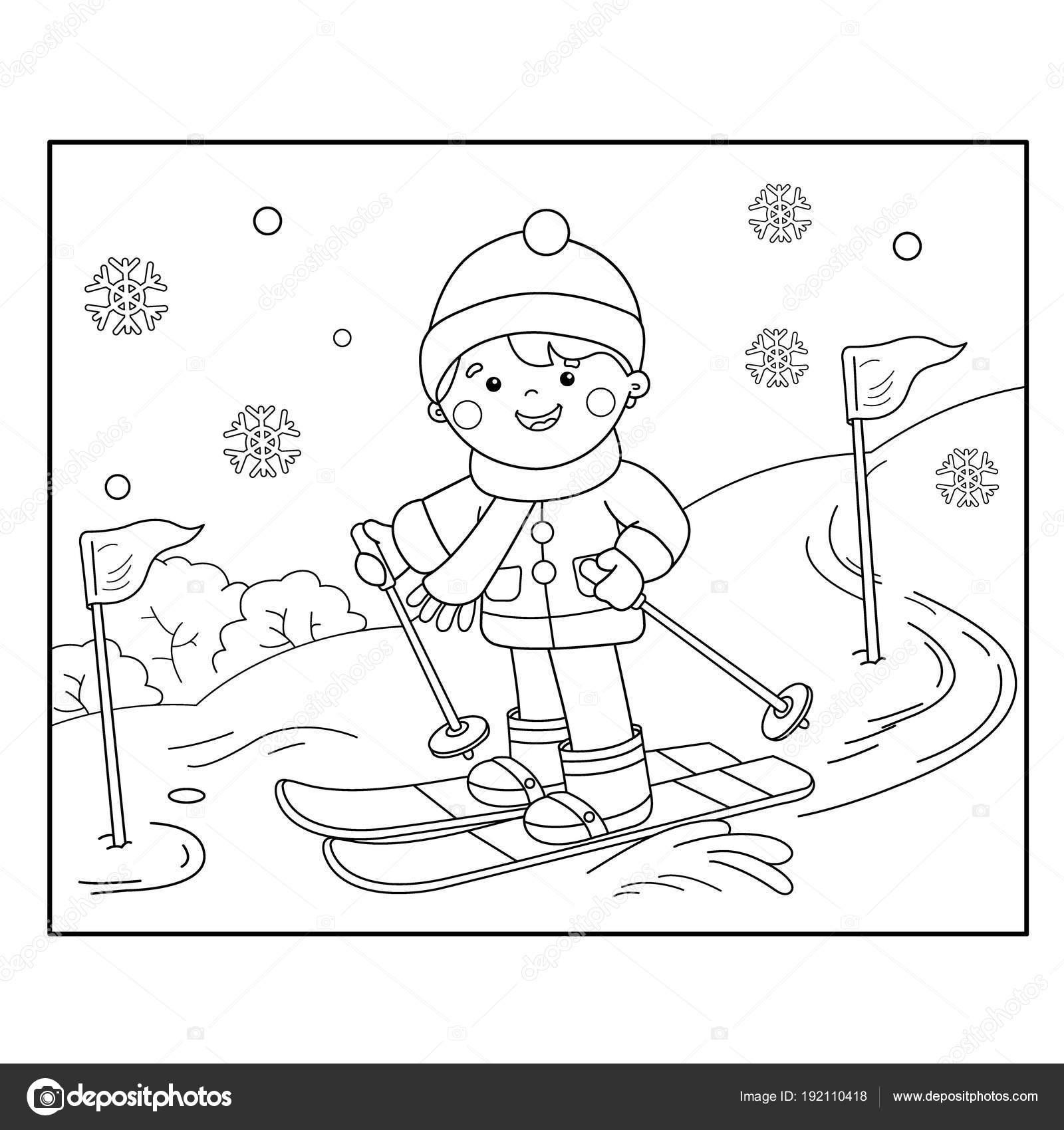 Colorear página contorno de dibujos animados chico esquí. Deportes ...