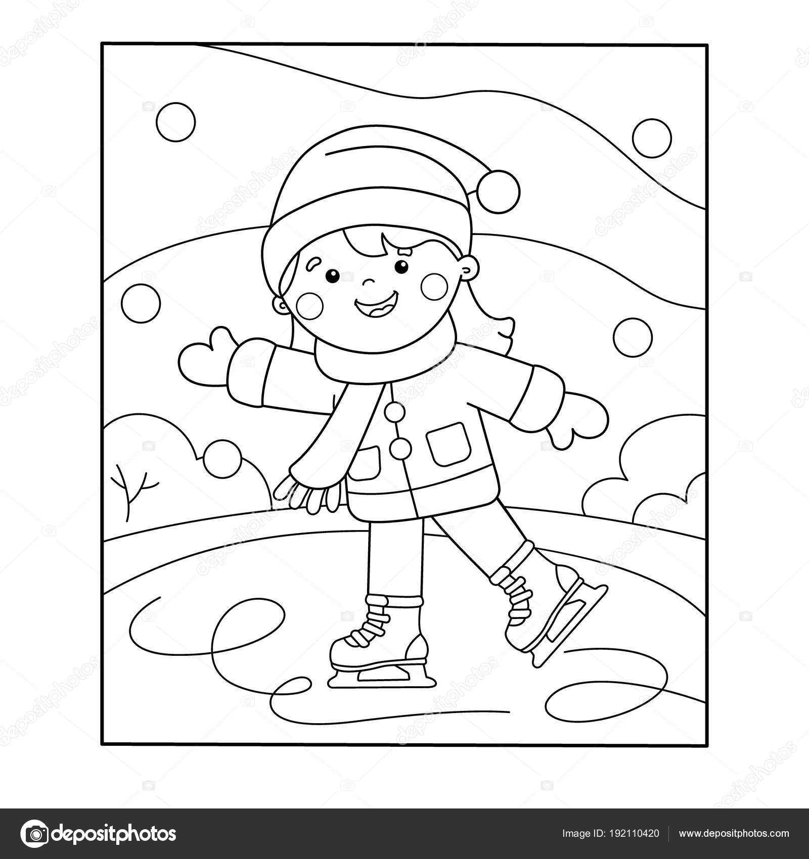 Para colorear esquema de página de dibujos animados chica patinando ...