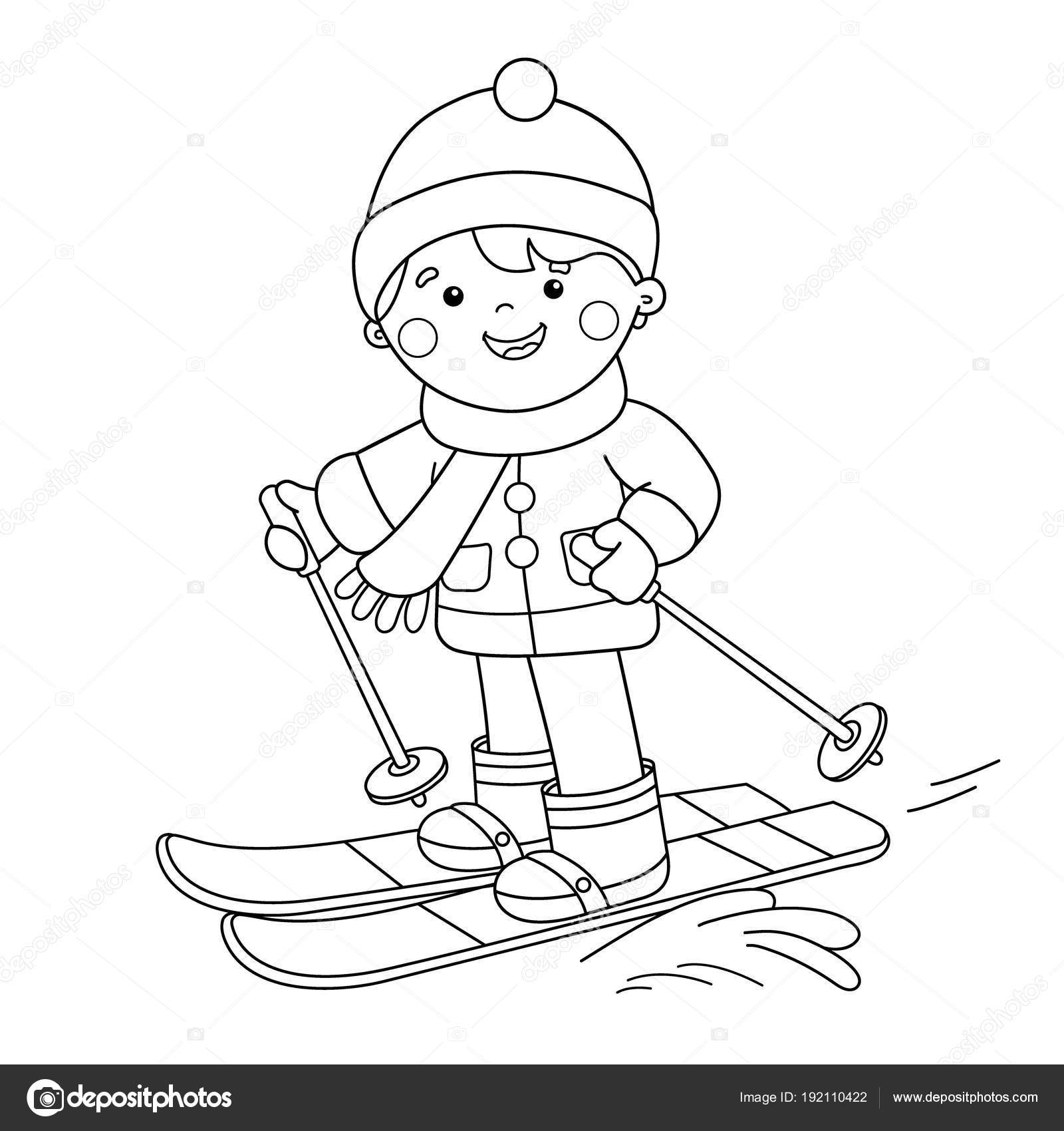 Coloring Page Outline Of Cartoon Boy Skiing Winter Sports Coloring