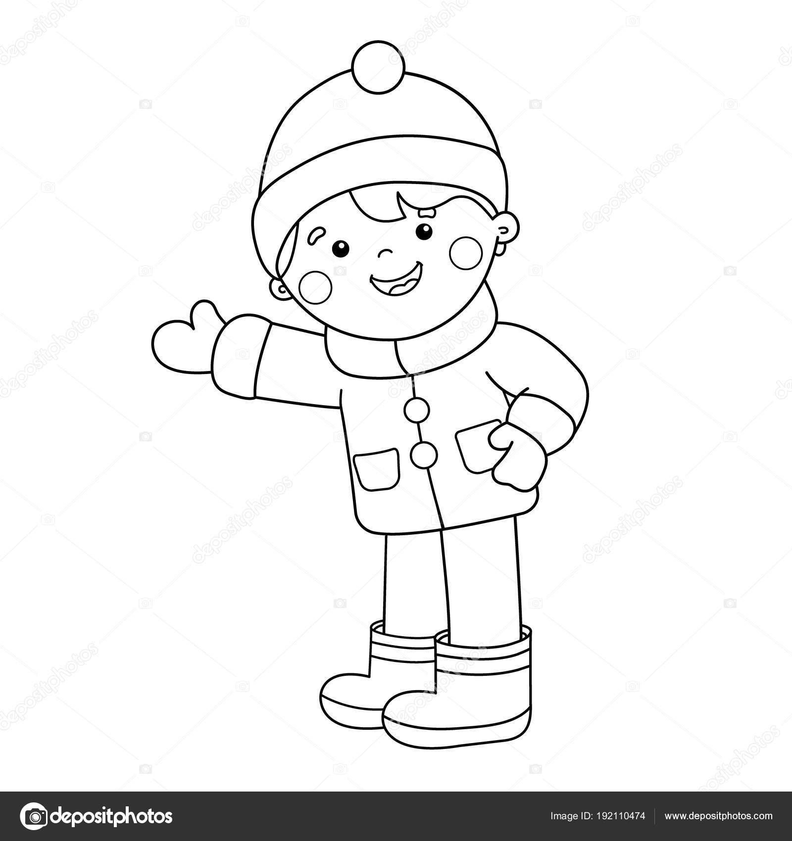 Colorear Página Esquema De Niño De Dibujos Animados Invierno Libro