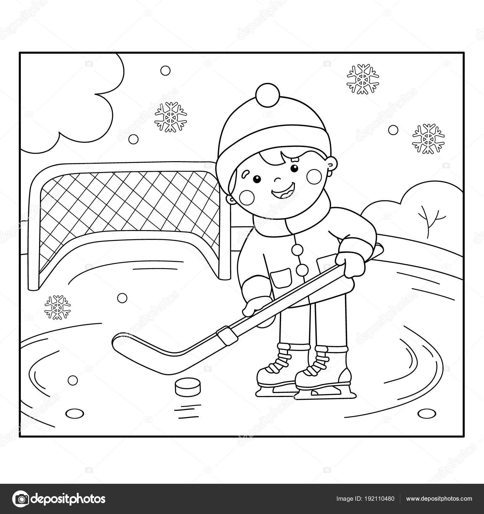Colorear página contorno de dibujos animados chico jugando al hockey ...