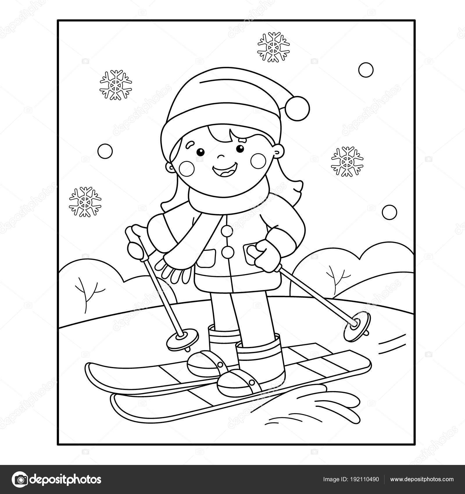 Colorear página esquema de cartoon girl esquí. Deportes de invierno ...