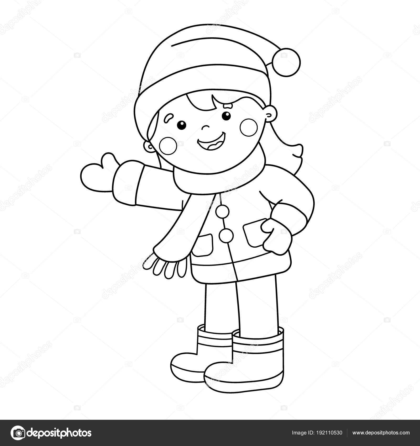 Sayfa Anahat Karikatür Kız Boyama Kış çocuklar Için Boyama Kitabı