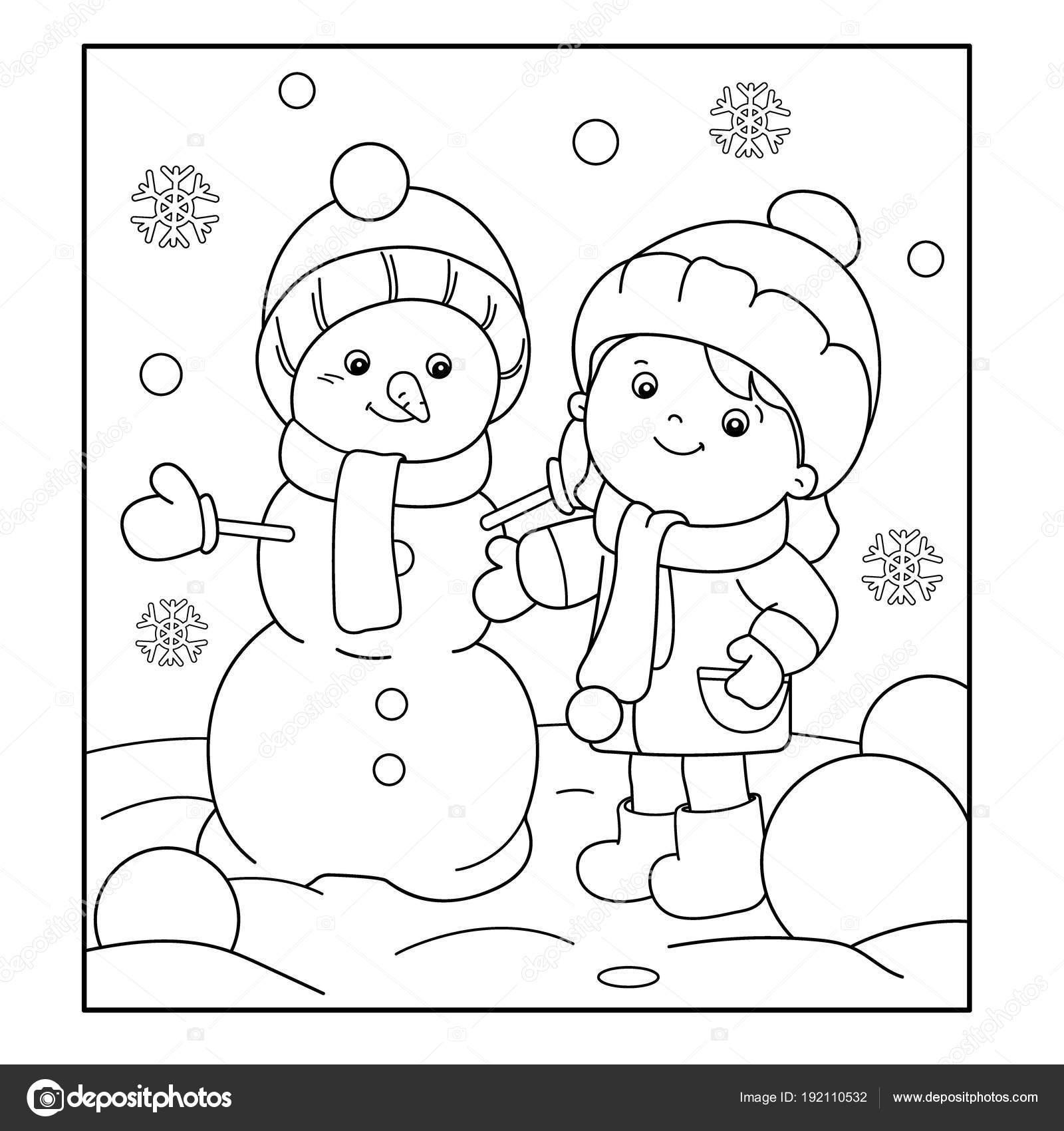 Kleurplaat Pagina Overzicht Van Cartoon Meisje Sneeuwpop Maken