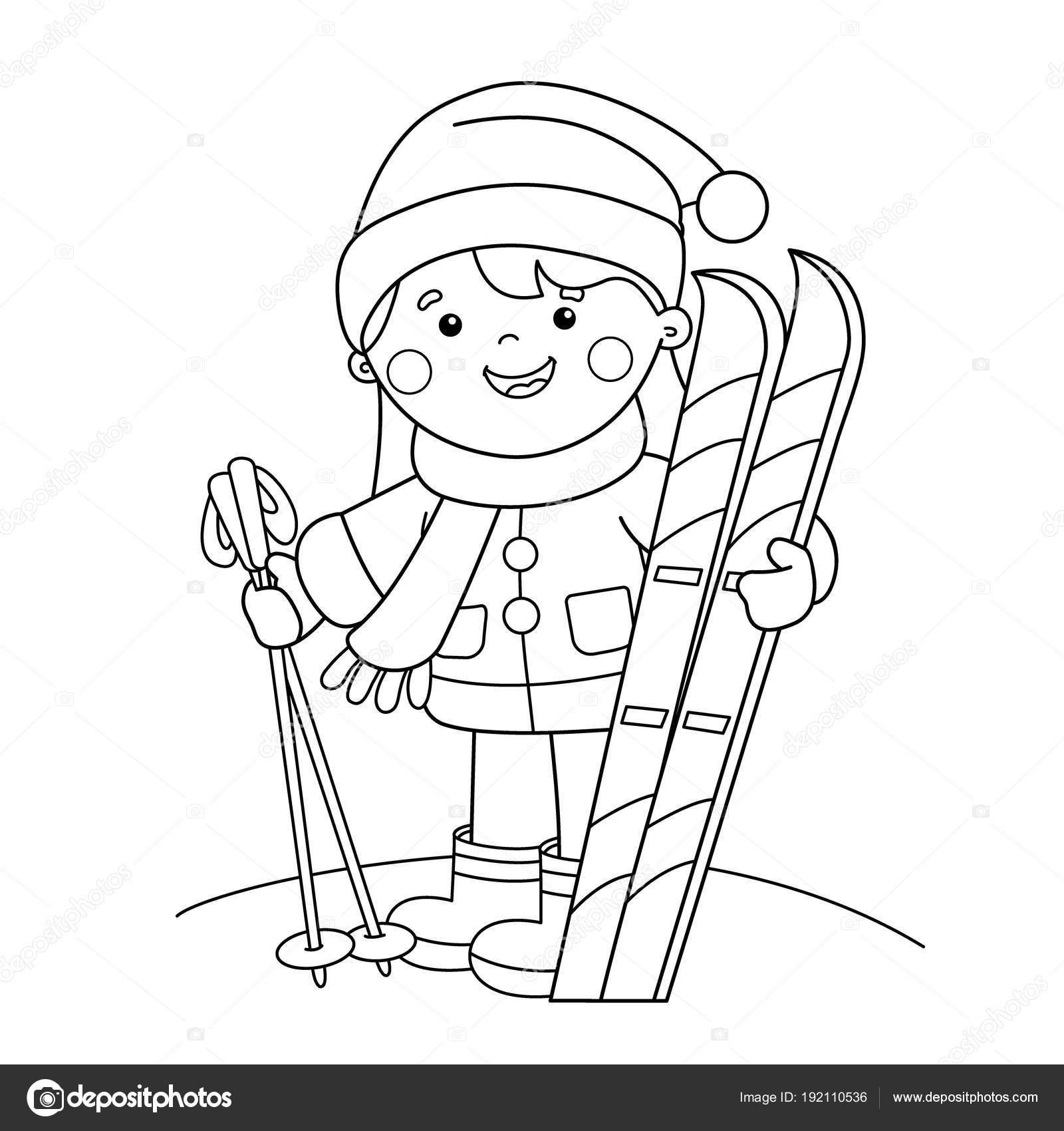 Sayfa Anahat Kayaklar Kızla çizgi Film Boyama Kış Sporları