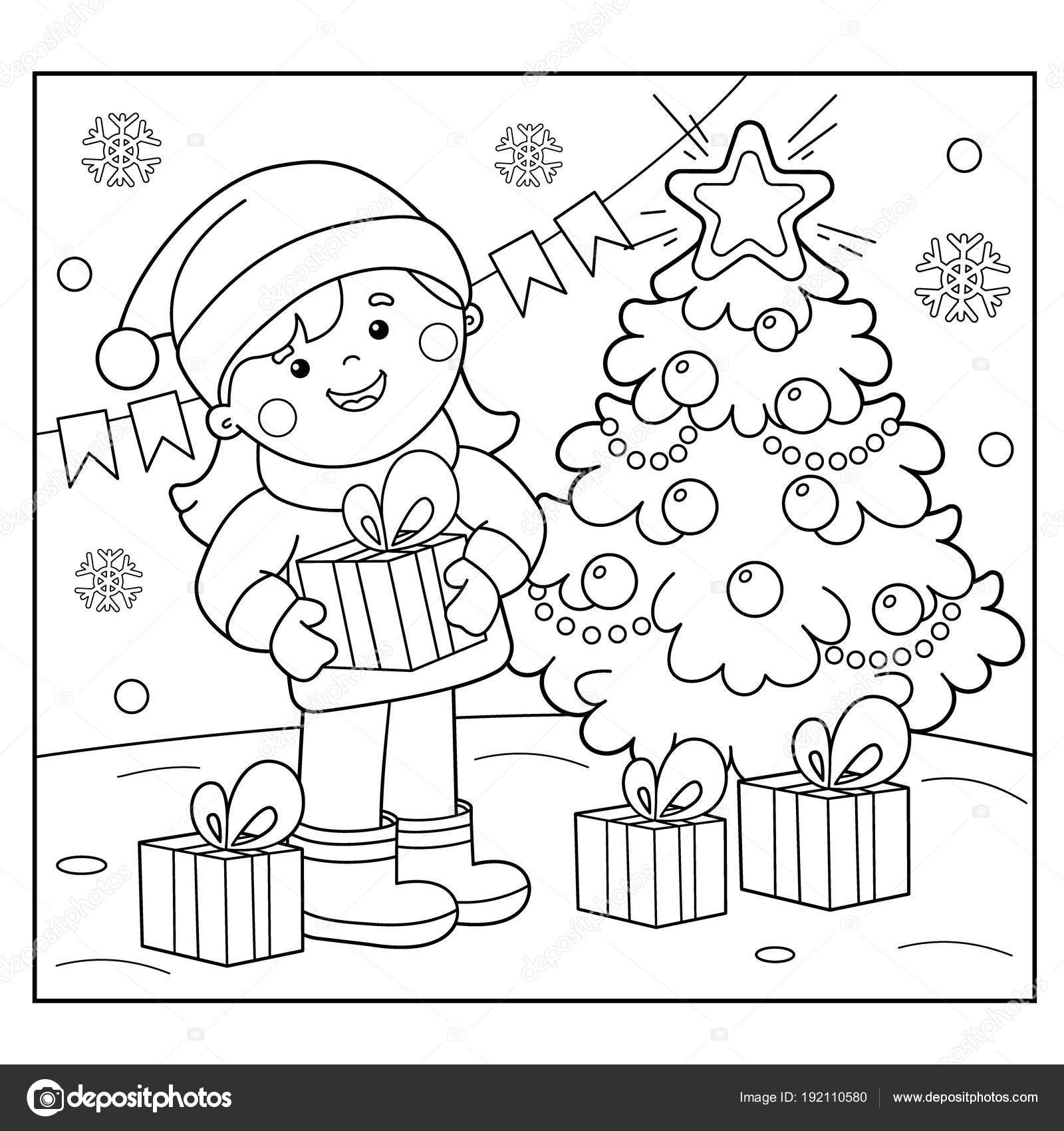 Coloring Page Outline Of Girl With Gifts At Christmas Tree