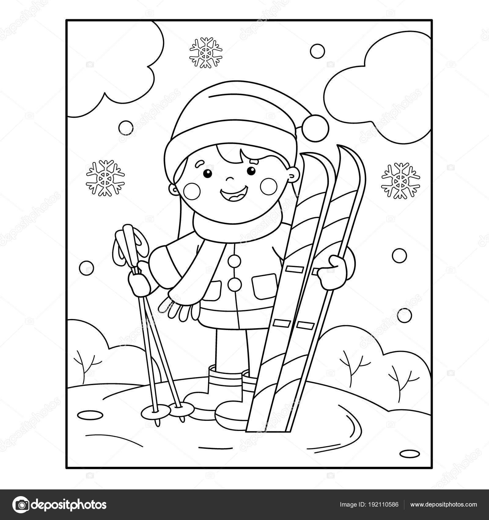 Kleurplaten Wintersport.Kleurplaat Pagina Overzicht Van Cartoon Meisje Met Ski S
